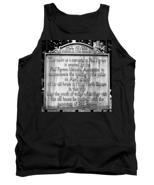 Paul Revere Burial Plaque Boston Massachusetts Tank Top