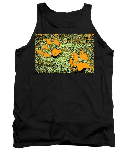 Paw Prints In Orange Lime And Black Tank Top