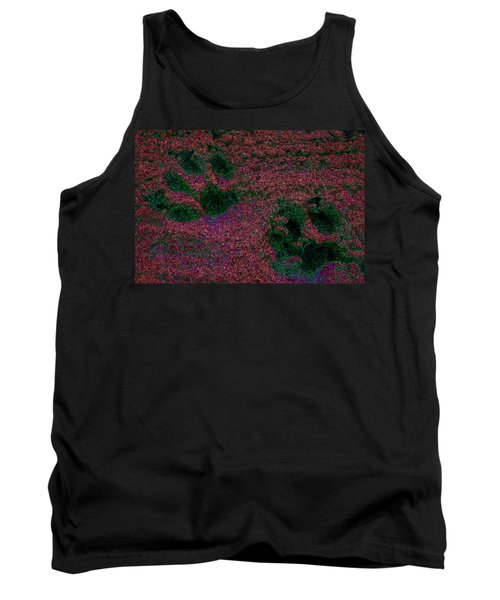 Paw Prints In Red And Green Tank Top