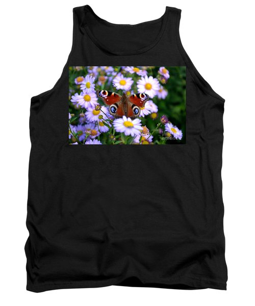 Peacock Butterfly Perched On The Daisies Tank Top