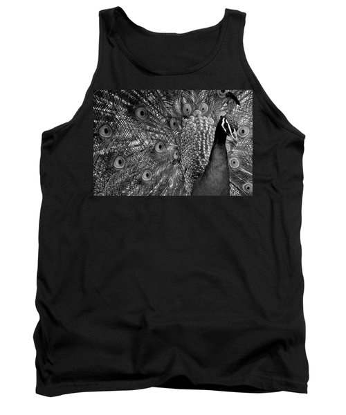 Tank Top featuring the photograph Peacock Bw by Ron White