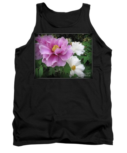 Peonies In White And Lavender Tank Top