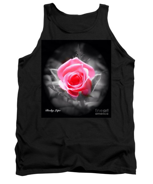 Perfect Rosebud In Black Tank Top by Becky Lupe