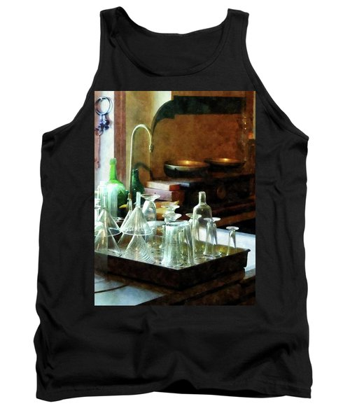 Pharmacy - Glass Funnels And Bottles Tank Top by Susan Savad
