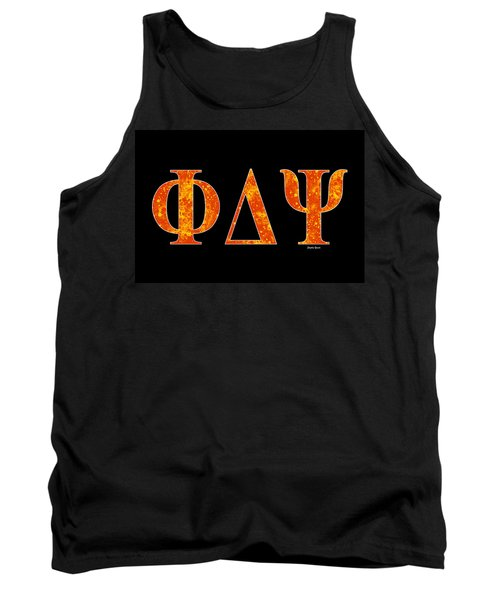 Tank Top featuring the digital art Phi Delta Psi - Black by Stephen Younts
