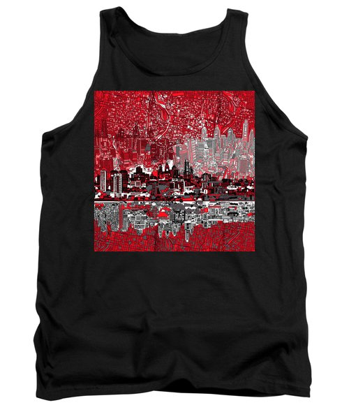 Philadelphia Skyline Abstract 4 Tank Top by Bekim Art