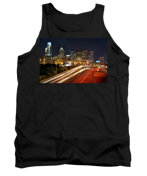 Philadelphia Skyline At Night In Color Car Light Trails Tank Top by Jon Holiday