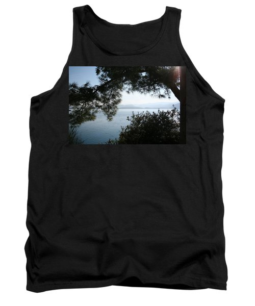 Tank Top featuring the photograph Pine Trees Overhanging The Aegean Sea by Tracey Harrington-Simpson