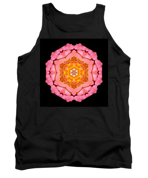Pink And Orange Rose I Flower Mandala Tank Top