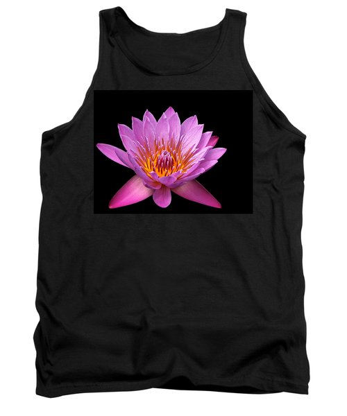 Tank Top featuring the photograph Pink Lady On Black by Judy Vincent