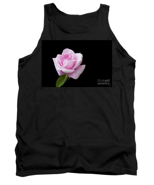 Pink Rose On Black Tank Top