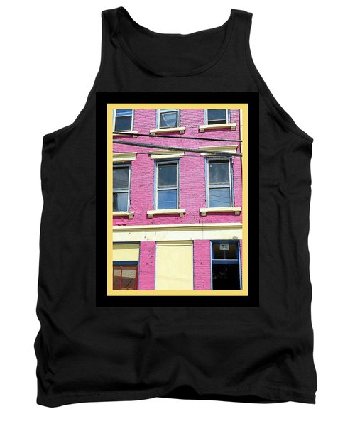 Pink Yellow Blue Building Tank Top by Kathy Barney