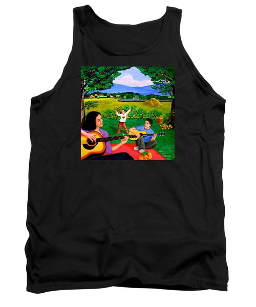 Tank Top featuring the painting Playing Melodies Under The Shade Of Trees by Cyril Maza