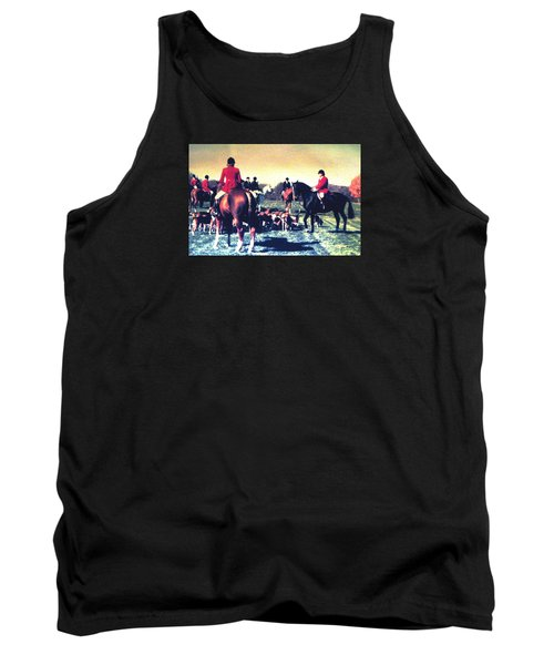 Tank Top featuring the photograph Plum Run Hunt Opening Day by Angela Davies