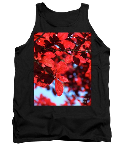 Plum Tree Cloudy Blue Sky 2 Tank Top by CML Brown