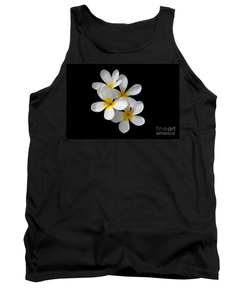 Tank Top featuring the photograph Plumerias Isolated On Black Background by David Millenheft