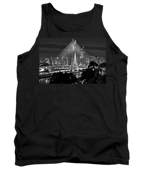 Sao Paulo - Ponte Octavio Frias De Oliveira By Night In Black And White Tank Top