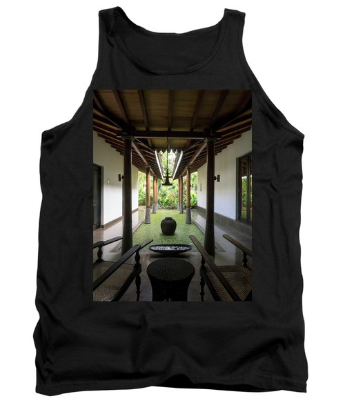 Pool With Leaves Next To Spa Tank Top
