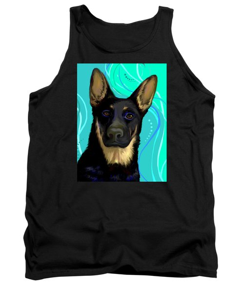 Tank Top featuring the digital art Portrait Of A German Shepherd Dog by Karon Melillo DeVega