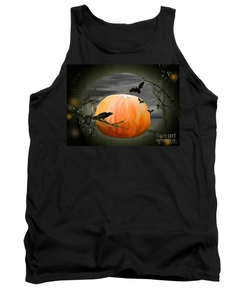 Tank Top featuring the photograph Pumpkin And Moon Halloween Art by Annie Zeno