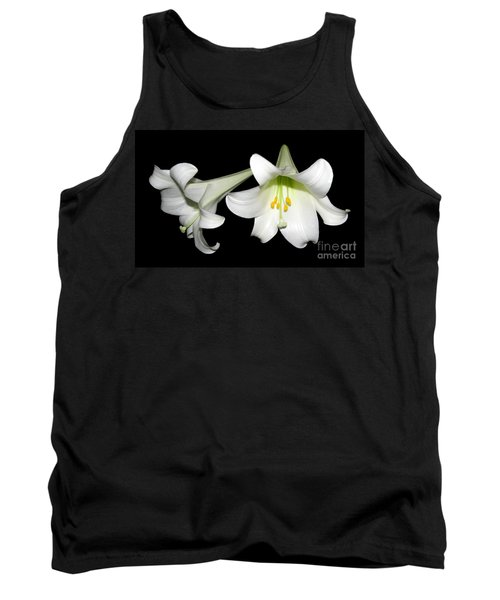 Pure White Easter Lilies Tank Top by Rose Santuci-Sofranko
