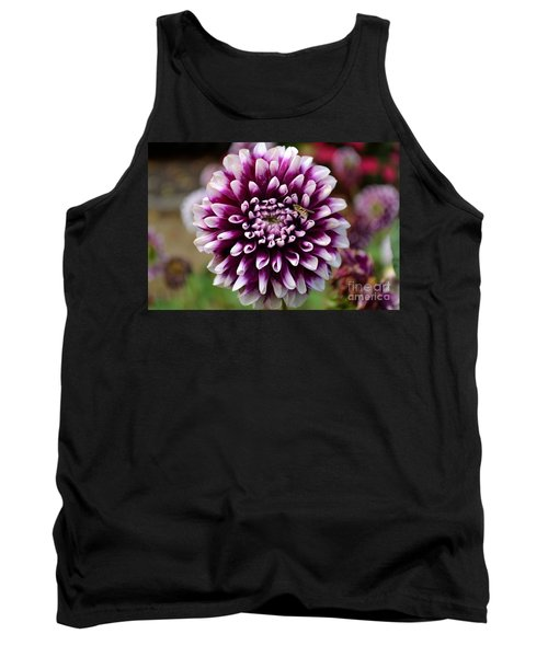 Purple Dahlia White Tips Tank Top