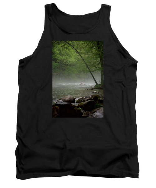 Rafting Misty River Tank Top by Lawrence Boothby