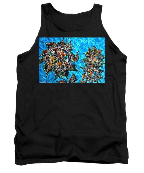 Rainbow Color Sunflowers Alcohol Inks Tank Top by Danielle  Parent