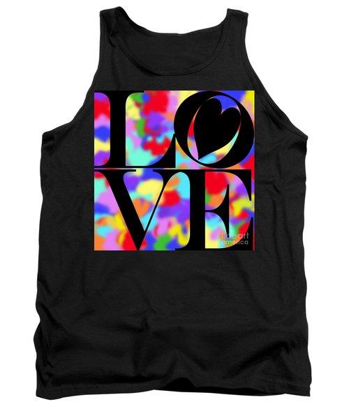 Rainbow Love In Black Tank Top by Kasia Bitner