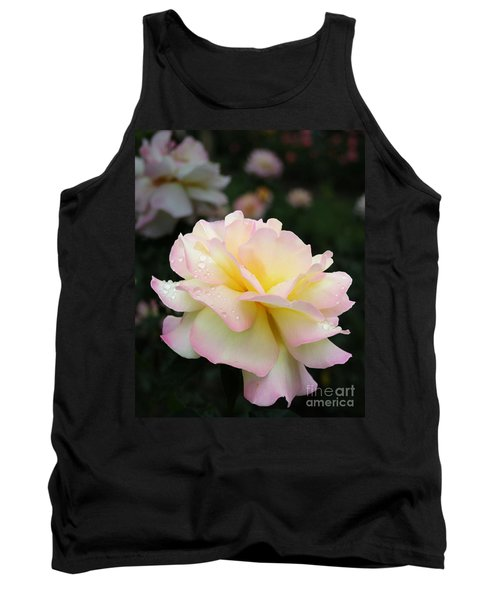 Tank Top featuring the photograph Raindrops On Rose Petals by Barbara McMahon