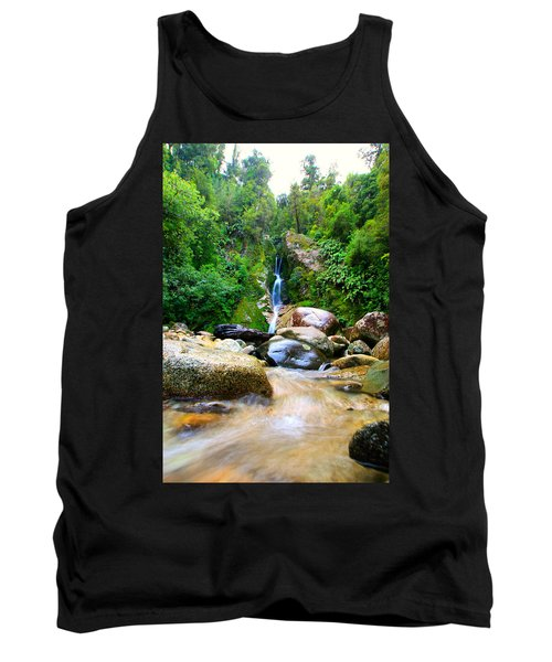 Tank Top featuring the photograph Rainforest Stream New Zealand by Amanda Stadther