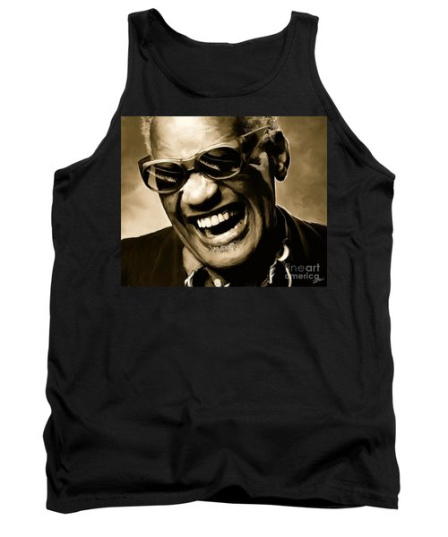 Ray Charles - Portrait Tank Top by Paul Tagliamonte