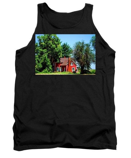 Tank Top featuring the photograph Red Barn And Trees by Matt Harang