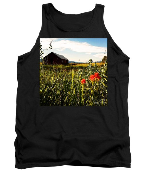 Tank Top featuring the photograph Red Barn by Meghan at FireBonnet Art