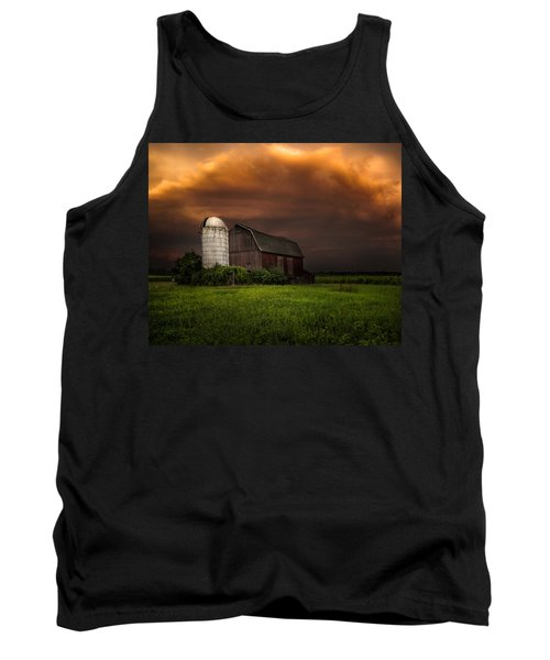 Tank Top featuring the photograph Red Barn Stormy Sky - Rustic Dreams by Gary Heller
