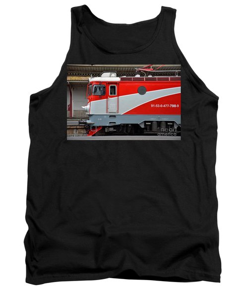 Tank Top featuring the photograph Red Electric Train Locomotive Bucharest Romania by Imran Ahmed