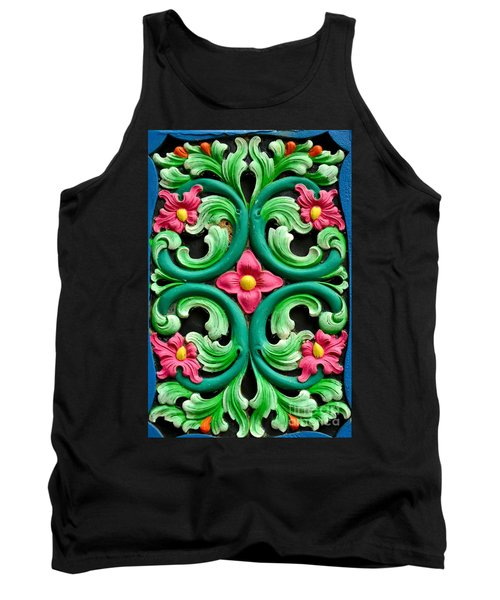 Red Green And Blue Floral Design Singapore Tank Top