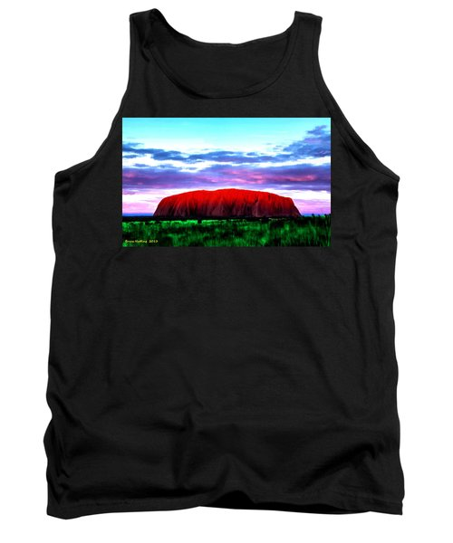 Tank Top featuring the painting Red Mountain Sunset by Bruce Nutting