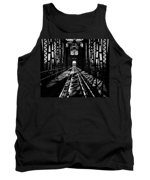 Red River Rail Road Crossing In Bw Tank Top by Diana Mary Sharpton