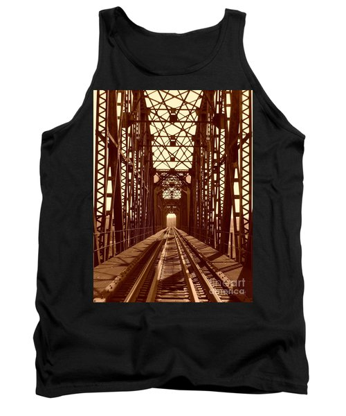 Tank Top featuring the photograph Red River Train Bridge #1 by Robert ONeil