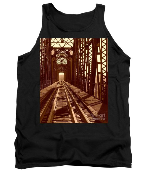 Tank Top featuring the photograph Red River Train Bridge #2 by Robert ONeil