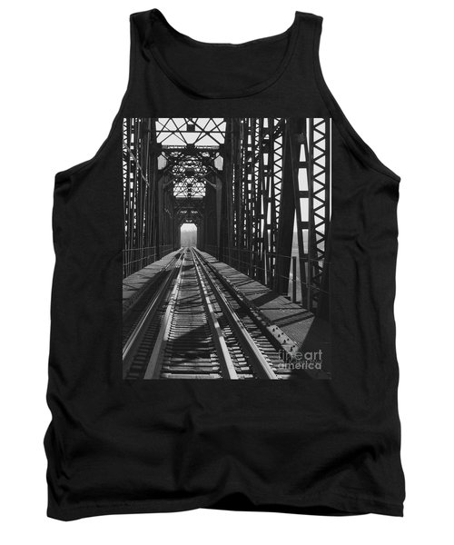 Tank Top featuring the photograph Red River Train Bridge #3 by Robert ONeil
