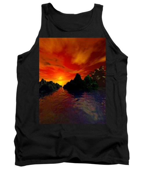Tank Top featuring the digital art Red Sky by Kim Prowse