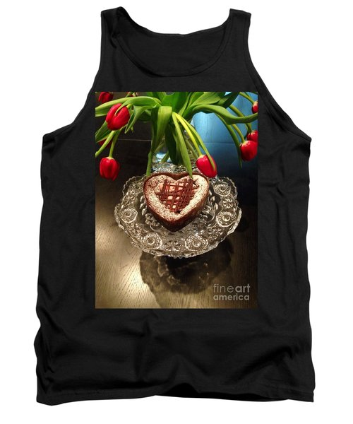 Red Tulip And Chocolate Heart Dessert Tank Top