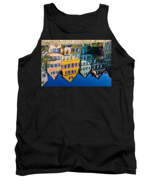 Reflection Of Colorful Houses In Neckar River Tuebingen Germany Tank Top by Matthias Hauser