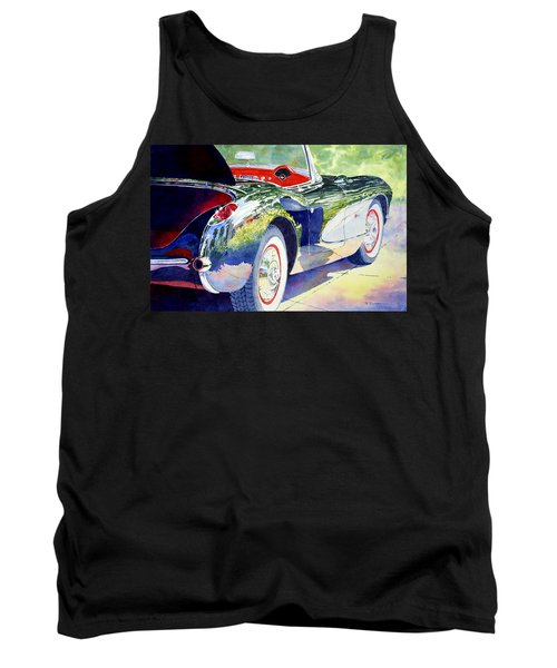 Tank Top featuring the painting Reflections On A Corvette by Roger Rockefeller