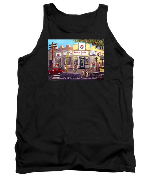 Tank Top featuring the painting Renie's Spa In Summertime by Rita Brown
