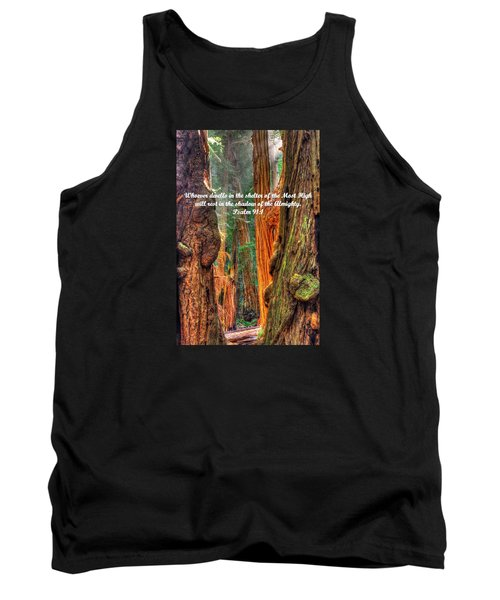 Rest In The Shadow Of The Almighty - Psalm 91.1 - From Sunlight Beams Into The Grove At Muir Woods Tank Top