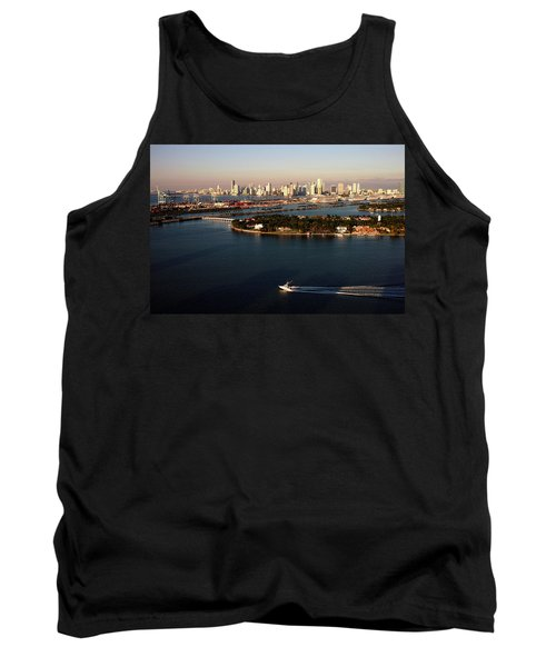 Retro Style Miami Skyline Sunrise And Biscayne Bay Tank Top