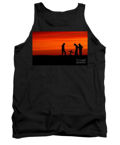 Tank Top featuring the photograph Cowboy Reverence by Andrea Kollo